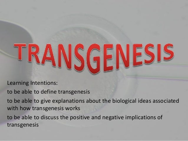 Learning Intentions:to be able to define transgenesisto be able to give explanations about the biological ideas associated...