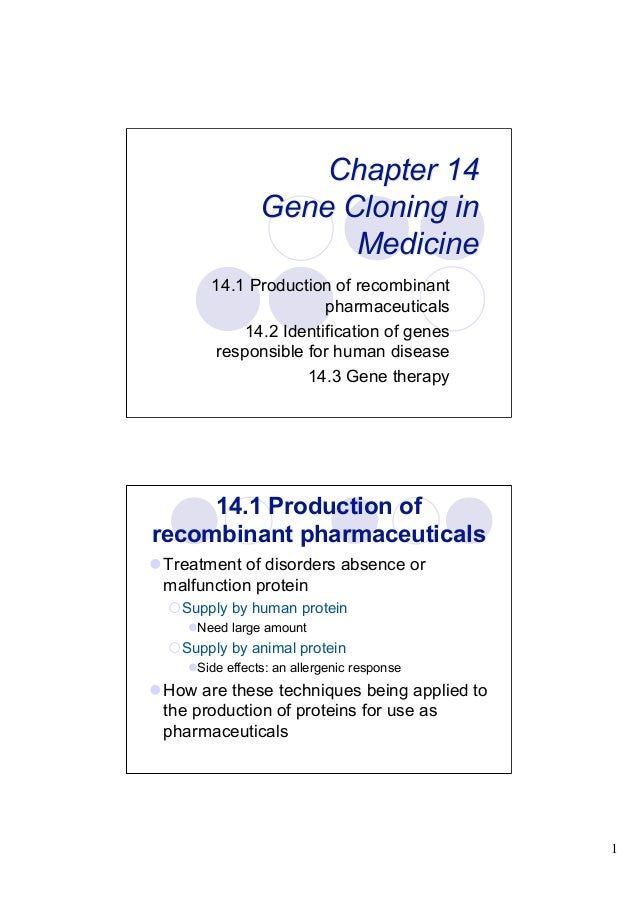 Chapter 14                Gene Cloning in                      Medicine        14.1 Production of recombinant             ...