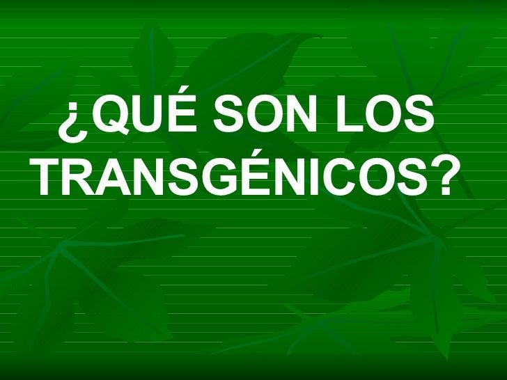 ¿ QUÉ SON LOS TRANSGÉNICOS ?