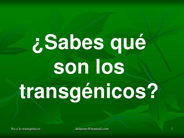 No a lo transgénicos<br />delurens@hotmail.com<br />1<br />¿Sabes qué <br />son los transgénicos?<br />