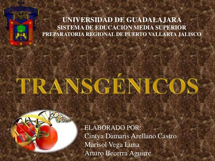 UNIVERSIDAD DE GUADALAJARA SISTEMA DE EDUCACION MEDIA SUPERIORPREPARATORIA REGIONAL DE PUERTO VALLARTA JALISCO<br />TRANSG...