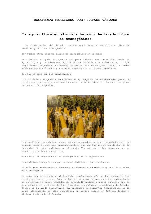 DOCUMENTO REALIZADO POR: RAFAEL VÁSQUEZLa agricultura ecuatoriana ha sido declarada libre                  de transgénicos...