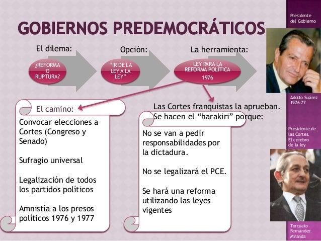 """¿REFORMA O RUPTURA? """"IR DE LA LEY A LA LEY"""" LEY PARA LA REFORMA POLÍTICA 1976 El dilema: Opción: La herramienta: Adolfo Su..."""