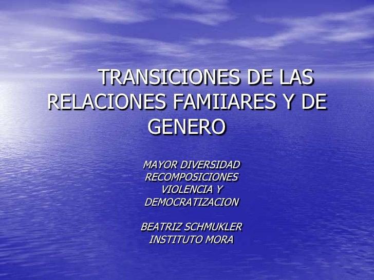 TRANSICIONES DE LAS RELACIONES FAMIIARES Y DE GENERO<br />MAYOR DIVERSIDAD<br />RECOMPOSICIONES<br />VIOLENCIA Y<br />DEM...