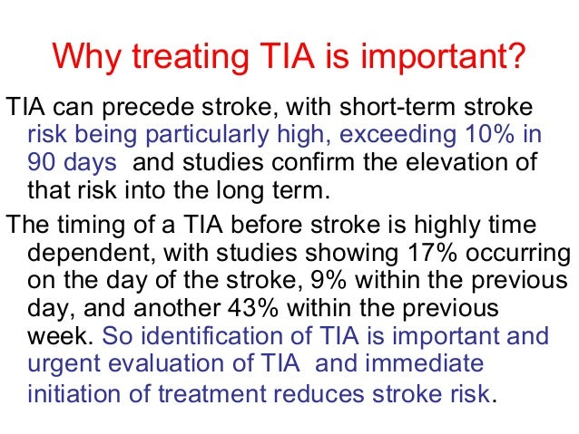 transient ischemic attack A transient ischemic attack (tia), sometimes called a mini-stroke, is a sudden, short-lived neurological condition it is caused by a small, temporary blockage in a.