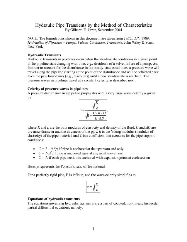 Hydraulic Pipe Transients by the Method of Characteristics                           By Gilberto E. Urroz, September 2004N...