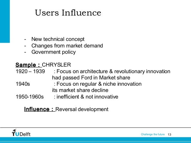 Users Influence -  New technical concept Changes from market demand Government policy  Sample : CHRYSLER 1920 – 1939 : Foc...