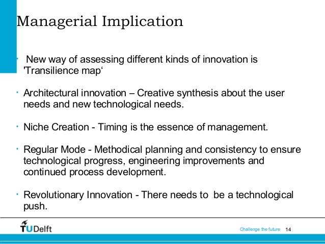 Managerial Implication •  •  •  •  •  New way of assessing different kinds of innovation is 'Transilience map' Architectur...