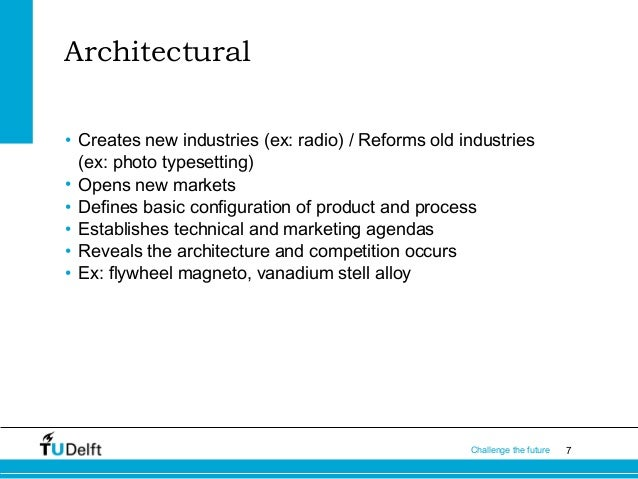 Architectural • Creates new industries (ex: radio) / Reforms old industries (ex: photo typesetting) • Opens new markets • ...