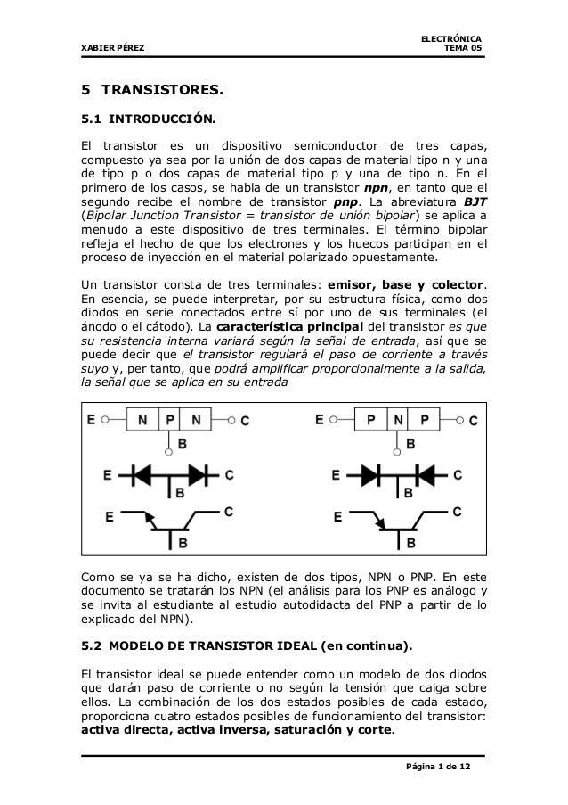 ELECTRÓNICA XABIER PÉREZ TEMA 05 Página 1 de 12 5 TRANSISTORES. 5.1  INTRODUCCIÓN. 263a1c2a1e