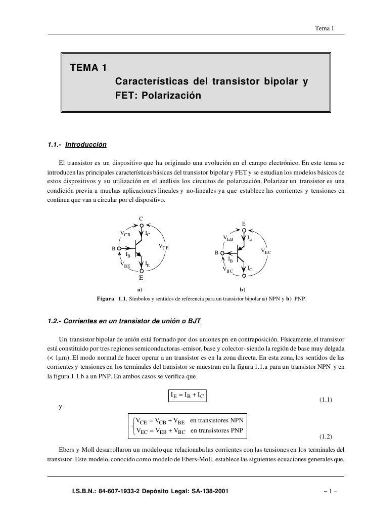 Tema 1        TEMA 1                          Características del transistor bipolar y                          FET: Polar...