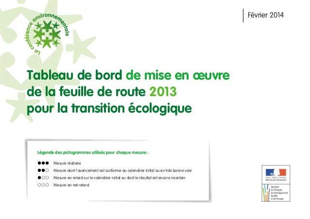 Tableau de bord de mise en œuvre de la feuille de route 2013 pour la transition écologique Légende des pictogrammes utilis...