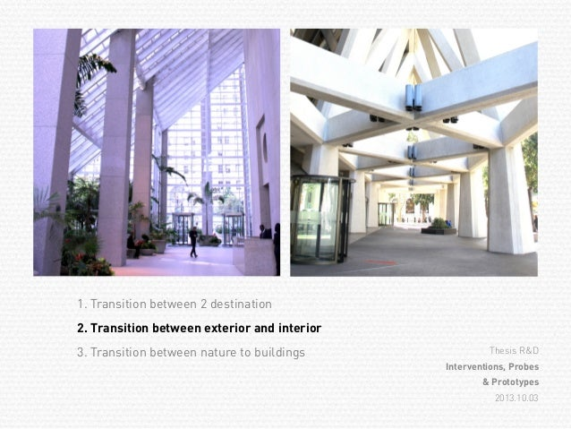 Transitional space presentation for Space definition in architecture