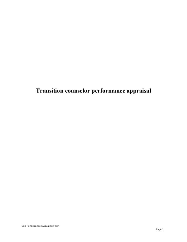 Transition counselor performance appraisal Job Performance Evaluation Form Page 1