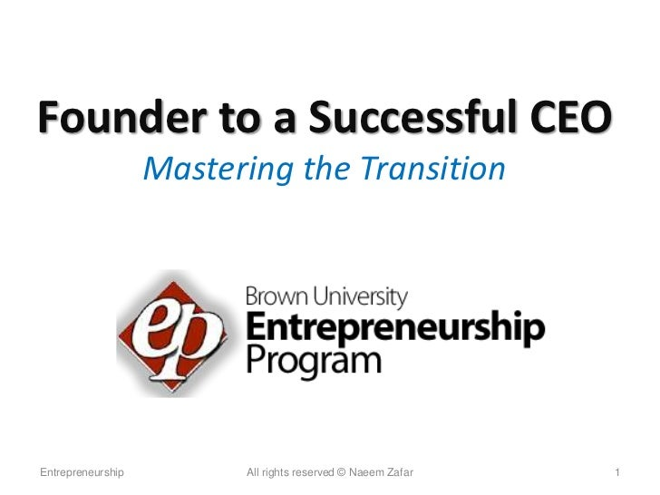 Transition from founder to ceo brown ep