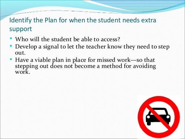 Identify the Plan for when the student needs extra support  Who will the student be able to access?  Develop a signal to...