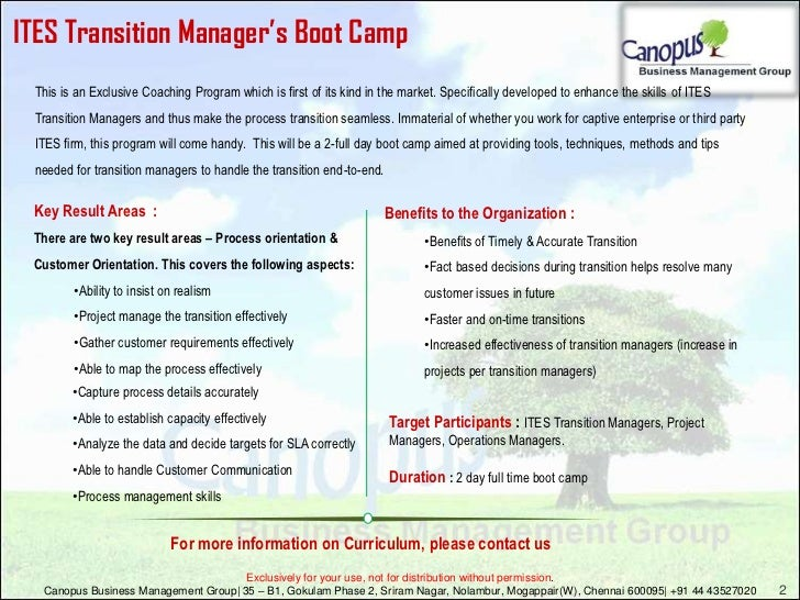 ITES Transition Manager's boot camp Slide 2