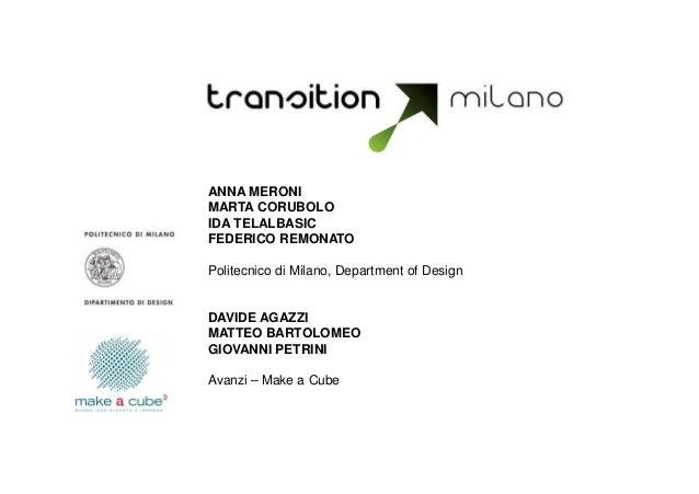 ANNA MERONI MARTA CORUBOLO IDA TELALBASIC FEDERICO REMONATO Politecnico di Milano, Department of Design  DAVIDE AGAZZI MAT...