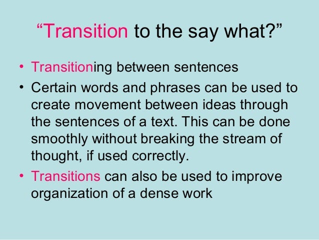 How to Teach Transitions in The Classroom