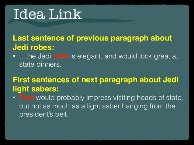 writing transitions 14 idea link last sentence