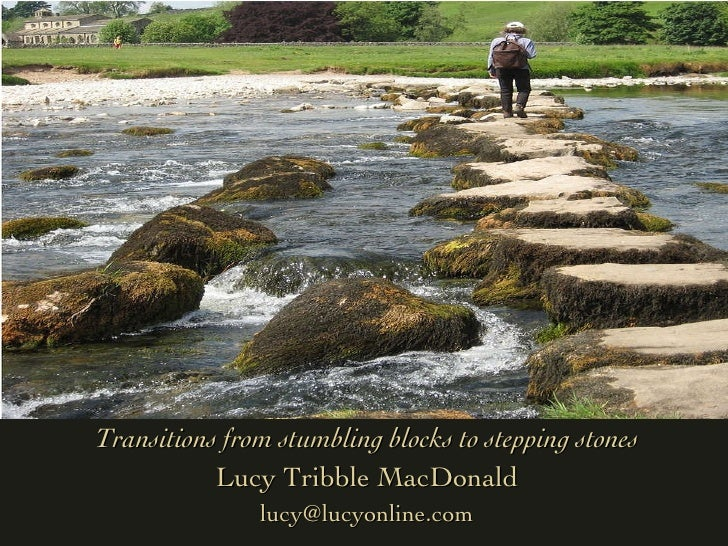 Transitions from stumbling blocks to stepping stones Lucy Tribble MacDonald [email_address]