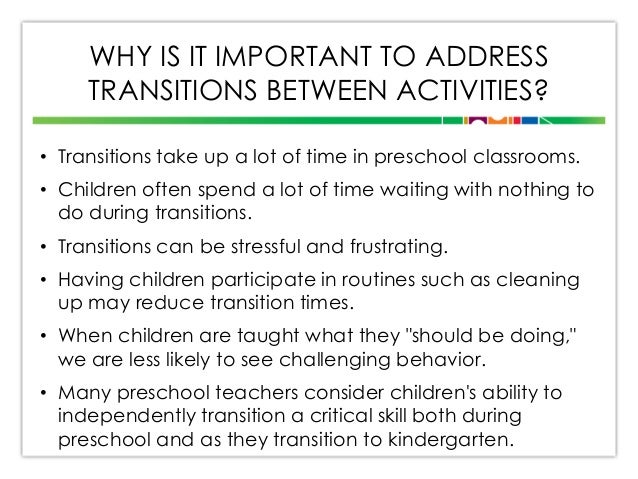 transition activities for preschool children transitions presentation revised 176