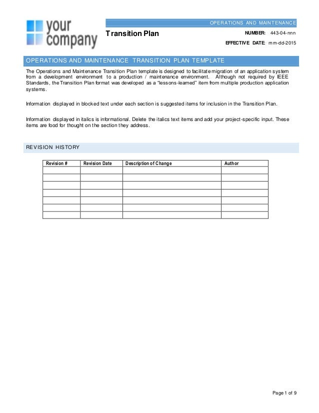 Leadership Transition Plan Template | Resume Format Download Pdf