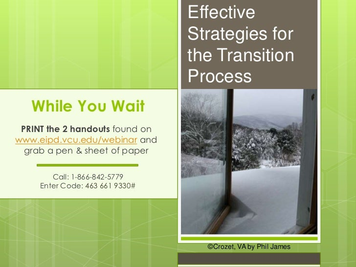 Effective                                 Strategies for                                 the Transition                   ...