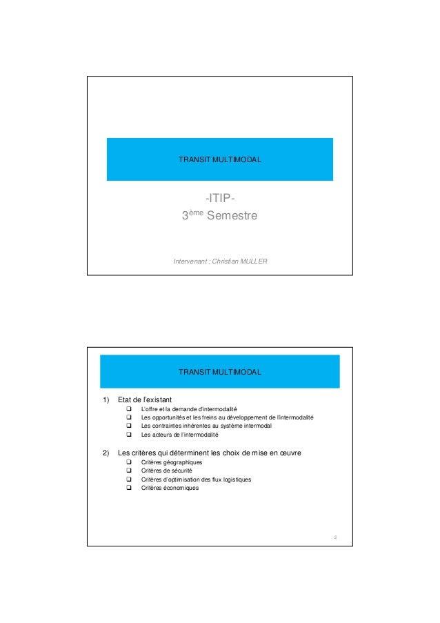 -ITIP- 3ème Semestre Intervenant : Christian MULLER TRANSIT MULTIMODAL 1) Etat de l'existant L'offre et la demande d'inter...