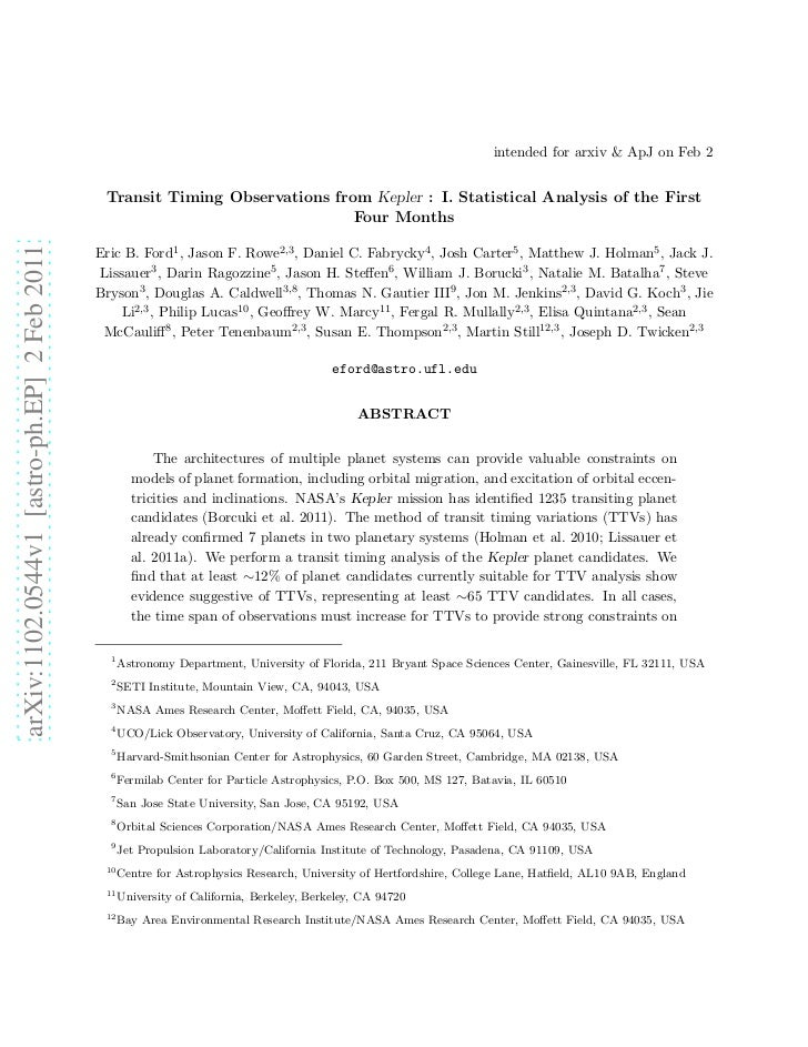 intended for arxiv & ApJ on Feb 2                                              Transit Timing Observations from Kepler : I...