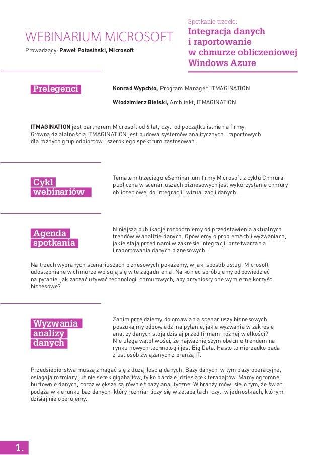Webinarium Microsoft Konrad Wypchło, Program Manager, ITMAGINATION Włodzimierz Bielski, Architekt, ITMAGINATION Tematem tr...