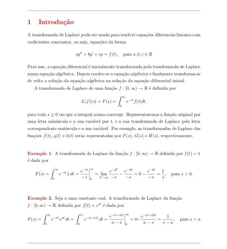 1     Introdu¸˜o             caA transformada de Laplace pode ser usada para resolver equa¸oes diferencias lineares com   ...