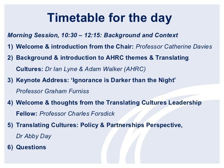 Translating Cultures Theme – Dr Ian Lyne and Adam Walker, AHRC Slide 2