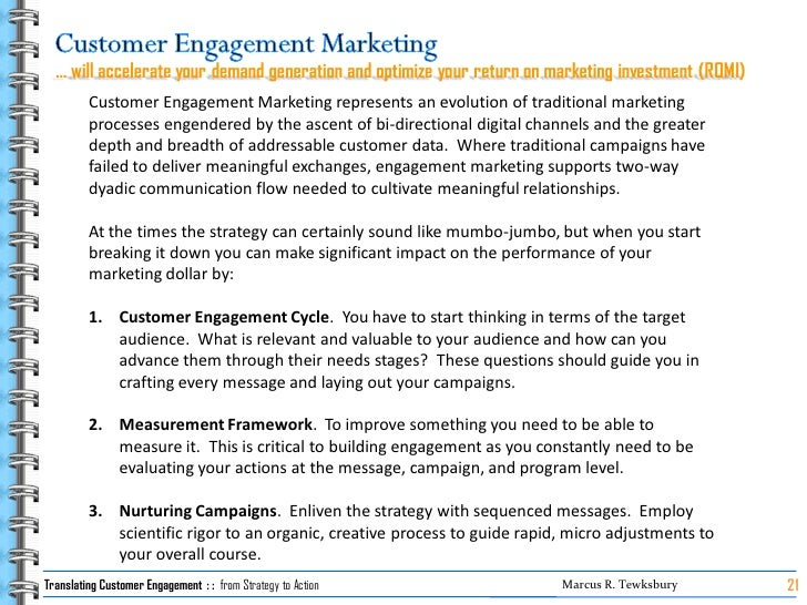 … will accelerate your demand generation and optimize your return on marketing investment (ROMI)          Customer Engagem...