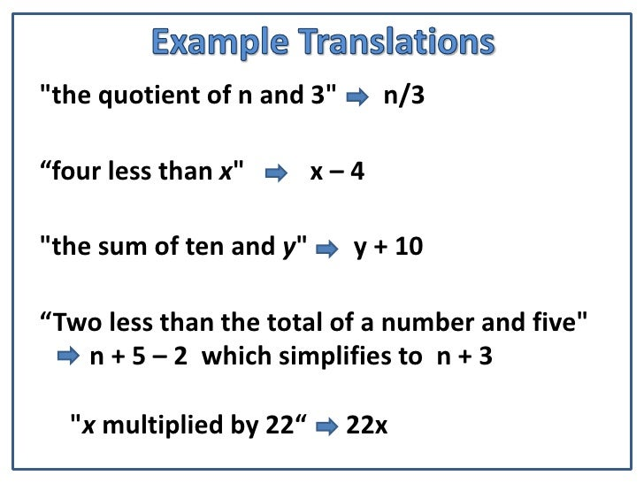 Translating Words Into Algebra Equations