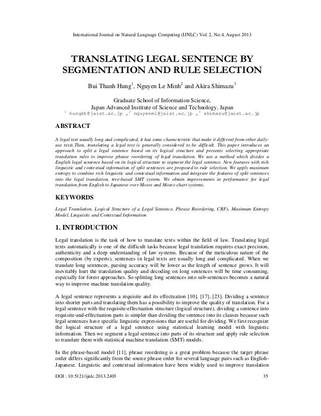 translating legal sentence by segmentation and rule selection
