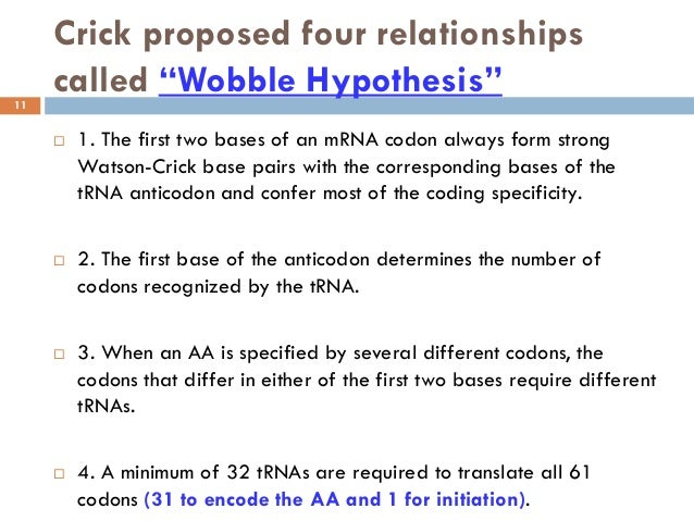 wobble hypothesis Answer to the wobble hypothesis was proposed by crick to explain non-watson-crick base pairing match the 5′ anticodon with the.
