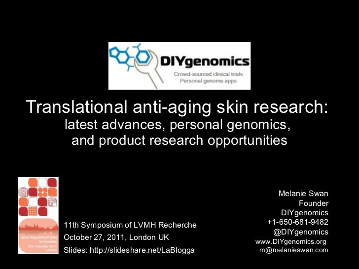 Translational anti-aging skin research:  latest advances, personal genomics,  and product research opportunities Melanie S...