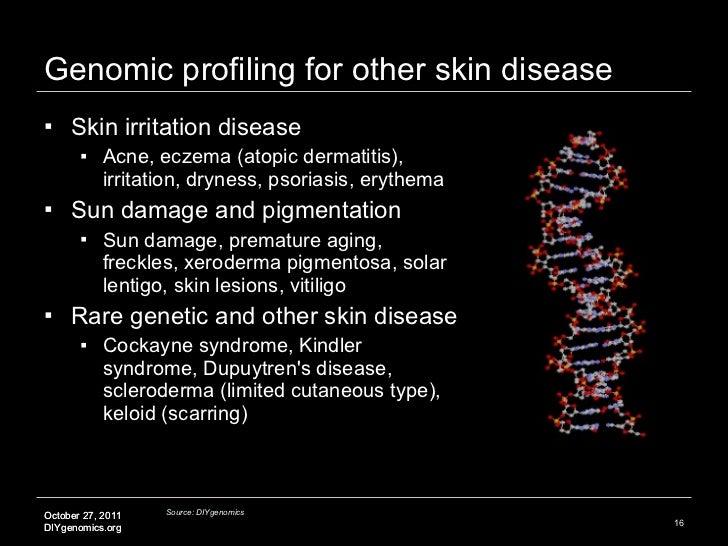 Genomic profiling for other skin disease <ul><li>Skin irritation disease </li></ul><ul><ul><li>Acne, eczema (atopic dermat...
