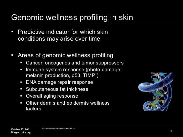 Genomic wellness profiling in skin <ul><li>Predictive indicator for which skin conditions may arise over time </li></ul><u...