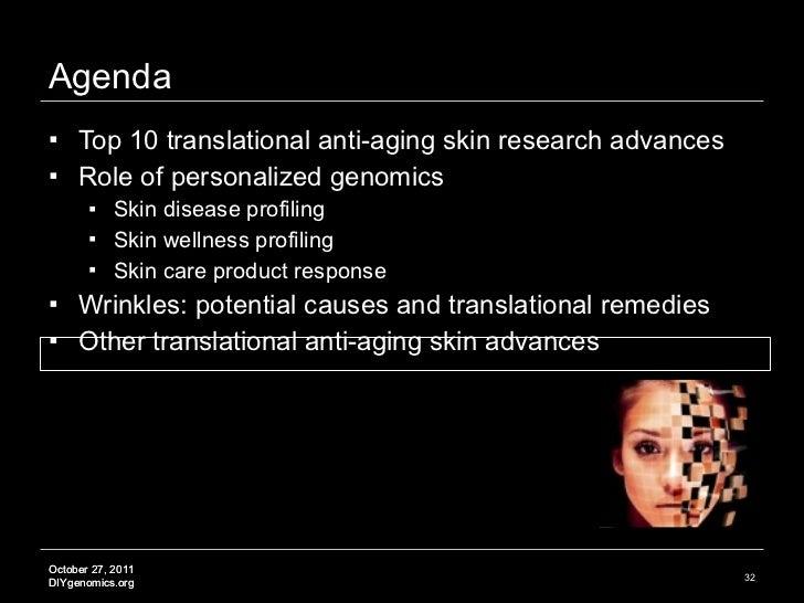 Agenda <ul><li>Top 10 translational anti-aging skin research advances </li></ul><ul><li>Role of personalized genomics </li...