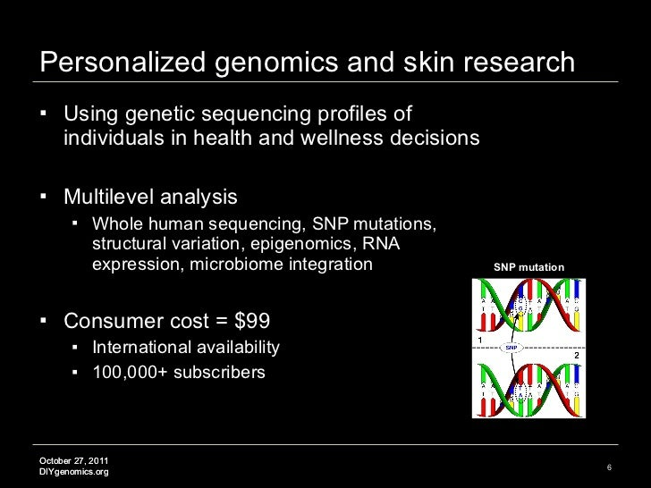 Personalized genomics and skin research <ul><li>Using genetic sequencing profiles of individuals in health and wellness de...
