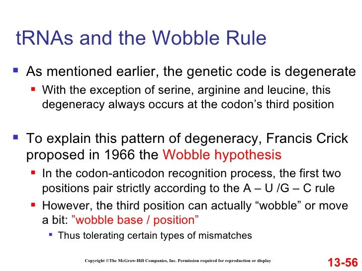 wobble hypothesis Download citation | the molecular basis | the molecular basis of crick's wobble hypothesis rests upon the assumption that the wobble base (base closest to the 5'-end of the anticodon) is able to shift its position within the anticodon by +/- 25 a.