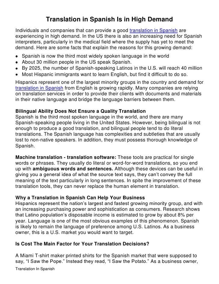 Spanish Speakers Demand Translation For >> Translation In Spanish Is On Demand