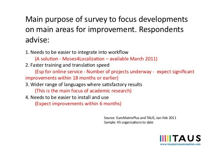 Main purpose of survey to focus developments on main areas for improvement. Respondents advise:...