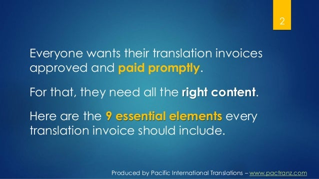 Essential Content For Your Translation Invoice