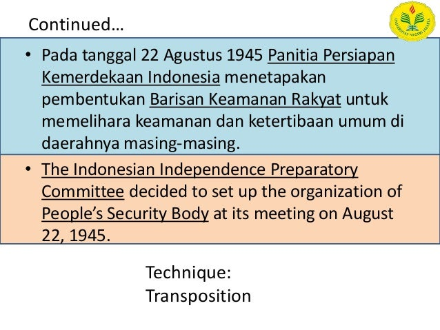 Translation of indonesian cultural aspects into english
