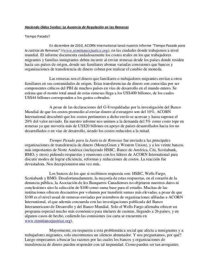 Haciendo Oídos Sordos: La Ausencia de Regulación en las RemesasTiempo Pasado?                 En diciembre de 2010, ACORN ...