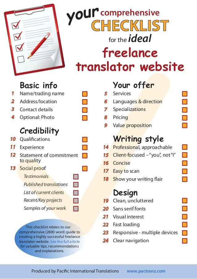 Checklist Creating The Ideal Freelance Translator Website