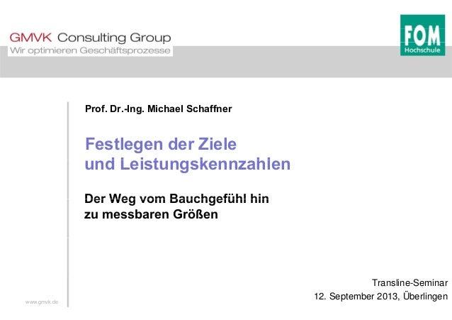 Prof. Dr.-Ing. Michael Schaffner Festlegen der Ziele d L i t k hlund Leistungskennzahlen Der Weg vom Bauchgefühl hinDer We...